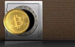 3d bitcoin over bakstenen vector illustratie