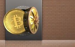 3d bitcoin over bakstenen muur Royalty-vrije Stock Fotografie