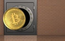 3d bitcoin over bakstenen muur Royalty-vrije Stock Foto
