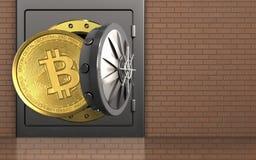 3d bitcoin over bakstenen muur Stock Fotografie