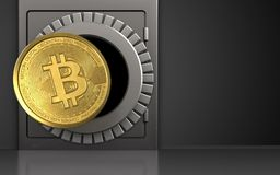 3d bitcoin over black. 3d illustration of metal safe with bitcoin over black background Stock Image