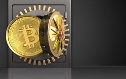 3d bitcoin over black. 3d illustration of metal safe with bitcoin over black background Stock Photos