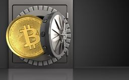 3d bitcoin over black. 3d illustration of metal safe with bitcoin over black background Stock Images