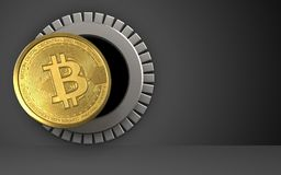 3d bitcoin over black. 3d illustration of bitcoin storage over black background Stock Images