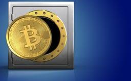 3d bitcoin over blauw Royalty-vrije Stock Afbeeldingen