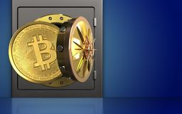 3d bitcoin over blauw Stock Fotografie