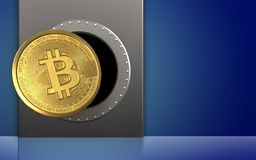 3d bitcoin over blauw Stock Foto