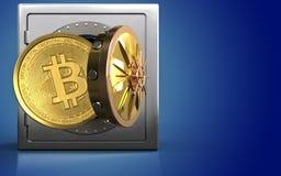 3d bitcoin over blauw Stock Afbeelding