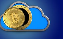 3d bitcoin over blue. 3d illustration of cloud with bitcoin over blue background Royalty Free Stock Photography