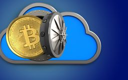 3d bitcoin over blue. 3d illustration of cloud with bitcoin over blue background Royalty Free Stock Photo