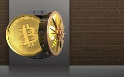 3d bitcoin over bricks. 3d illustration of metal box with bitcoin over bricks background Stock Images