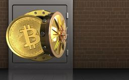 3d bitcoin over bricks. 3d illustration of metal safe with bitcoin over bricks background Stock Photography