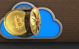 3d bitcoin over bricks. 3d illustration of cloud with bitcoin over bricks background Stock Photo