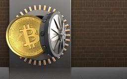 3d bitcoin over bricks. 3d illustration of metal box with bitcoin over bricks background Royalty Free Stock Image