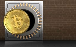 3d bitcoin over bricks. 3d illustration of metal safe with bitcoin over bricks background Royalty Free Stock Photos