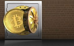 3d bitcoin over bricks. 3d illustration of metal safe with bitcoin over bricks background Stock Photo