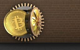 3d bitcoin over bricks. 3d illustration of bitcoin storage over bricks background Royalty Free Stock Images