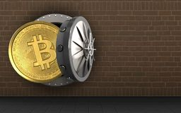 3d bitcoin over bricks. 3d illustration of bitcoin storage over bricks background Royalty Free Stock Photos