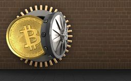 3d bitcoin over bricks. 3d illustration of bitcoin storage over bricks background Royalty Free Stock Photography
