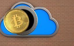 3d bitcoin over bricks wall. 3d illustration of cloud with bitcoin over bricks wall background Stock Images