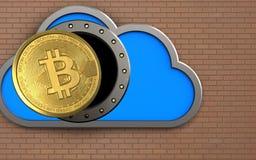 3d bitcoin over bricks wall. 3d illustration of cloud with bitcoin over bricks wall background Stock Image