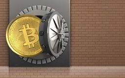 3d bitcoin over bricks wall. 3d illustration of metal box with bitcoin over bricks wall background Stock Images