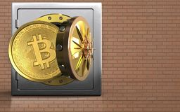 3d bitcoin over bricks wall. 3d illustration of metal safe with bitcoin over bricks wall background Royalty Free Stock Photography