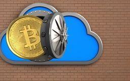 3d bitcoin over bricks wall. 3d illustration of cloud with bitcoin over bricks wall background Royalty Free Stock Photography