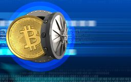 3d bitcoin over cyber. 3d illustration of bitcoin storage over cyber background Stock Images
