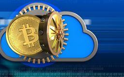 3d bitcoin over cyber. 3d illustration of cloud with bitcoin over cyber background Royalty Free Stock Photos