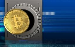 3d bitcoin over cyber. 3d illustration of metal safe with bitcoin over cyber background Stock Photos