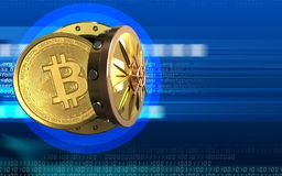 3d bitcoin over cyber. 3d illustration of bitcoin storage over cyber background Royalty Free Stock Images