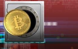 3d bitcoin over digitaal rood Stock Afbeeldingen