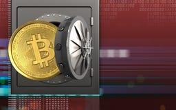3d bitcoin over digitaal rood vector illustratie