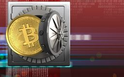 3d bitcoin over digitaal rood Royalty-vrije Stock Afbeeldingen