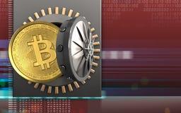 3d bitcoin over digitaal rood Stock Foto's