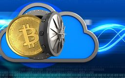 3d bitcoin over digital waves. 3d illustration of cloud with bitcoin over digital waves background Royalty Free Stock Photography