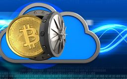3d bitcoin over digital waves. 3d illustration of cloud with bitcoin over digital waves background Stock Photo
