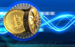3d bitcoin over digital waves Stock Illustration
