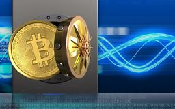 3d bitcoin over digitale golven Stock Afbeelding