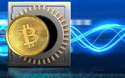 3d bitcoin over digitale golven Stock Afbeeldingen