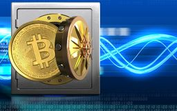 3d bitcoin over digitale golven Stock Foto's