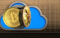 3d bitcoin over golden wall. 3d illustration of cloud with bitcoin over golden wall background Stock Images