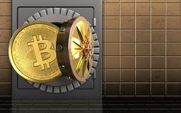 3d bitcoin over gouden muur Stock Afbeeldingen