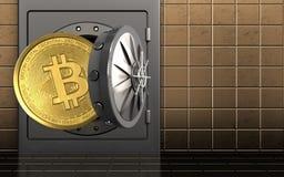3d bitcoin over gouden muur Royalty-vrije Stock Foto
