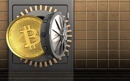 3d bitcoin over gouden muur Stock Afbeelding
