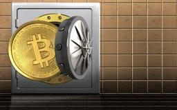3d bitcoin over gouden muur Stock Foto's