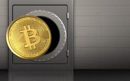 3d bitcoin over ijzermuur Stock Afbeelding