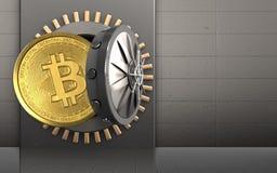 3d bitcoin over ijzermuur Royalty-vrije Stock Afbeelding