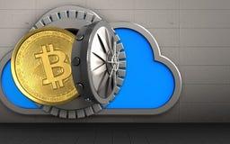 3d bitcoin over ijzermuur Royalty-vrije Stock Foto's